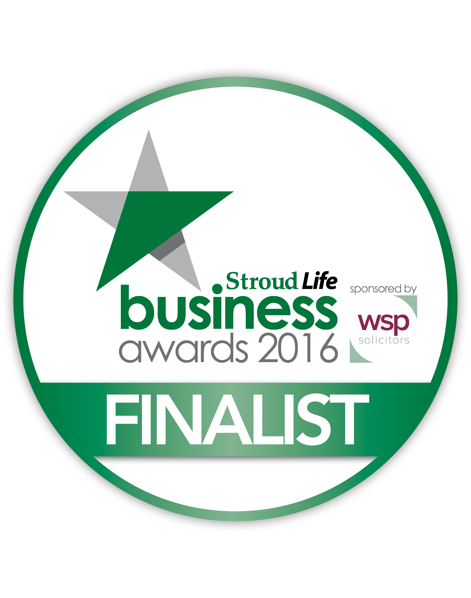 The Stroud business awards finalist badge. Out of House Publishing were a shortlisted in this category